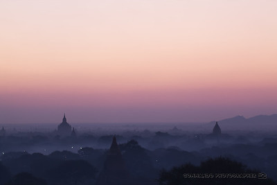 Sunrise on the plain of Bagan.